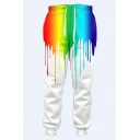 Colorful Splash Ink Printed Drawstring Waist Leisure Loose Pants