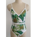 Fashionable Pineapple Print Spaghetti Straps Beach Fashion One Piece Swimwear