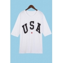 Unique USA Letter Star Print Round Neck Half Sleeves Casual Tee