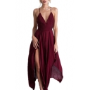 Spaghetti Straps Sleeveless V Neck Split Front Asymmetric Hem Plain Maxi Cami Dress