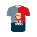 Cool Fancy Character BOSS Print Color Block Round Neck Short Sleeves Summer T-shirt