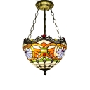 Victorian Multicolored Double/Triple Lights Hanging Light Fixture with Inverted Bowl Shade