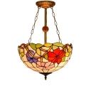 Three Light Semi-Flushmount Light with Flower Pattern Glass Shade, Tiffany Style, 16