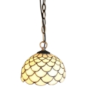 Dome Glass Shade in White, Tiffany Simple Hanging Lamp for Hallway or Loft, 8