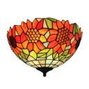 Colorful Bowl Shaped Tiffany Flush Mount Ceiling Fixture with 16