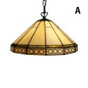 2-Light White Pendant Light with Tiffany Vintage Mission Glass Shade, 16