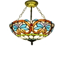 Vintage Victorian Tiffany-Style Three Light Semi-Flush Mount Ceiling Fixture, 16-Inch Wide, Up Lighting