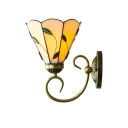Beige Glass Petal Wall Sconce with Bell Shade Tiffany Single Light Wall Lamp for Bedside Living Room