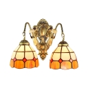 Simple 2-Light Wall Sconce in Mediterranean Style with Tiffany Orange & White Glass Shade, 14