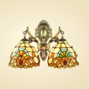 14-Inch Wide Tiffany Dome Glass Shade Wall Sconce in Victorian Style, 2-Light, Multicolored