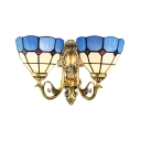 2-Light Mediterranean Wall Sconce with Blue Glass Shade in Tiffany Style, Brass Finish