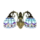 Classic Baroque Upward 2-Light Wall Sconce with Tiffany Style Blue Stained Glass