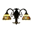 Colorful Stone Design Stained Glass Shade Sconce Lighting, Double Light
