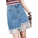 Polka Dot Lace Insert Pearl Embellished Zipper Fly Mini A-Line Denim Skirt