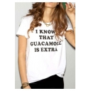 I KNOW Letter Printed Round Neck Short Sleeve Tee