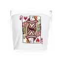 Playing Card Embroidered Strapless Crop Bandeau