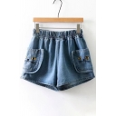 Cat Embroidered Elastic Waist Denim Shorts