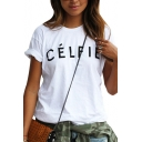Simple CELFIE Letter Printed Round Neck Short Sleeve Tee
