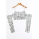 Party Style Sequined Detail Cold Shoulder Cropped Tee Summer Top
