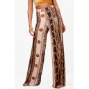 Color Block Leopard Printed High Waist Loose Wide Leg Pants