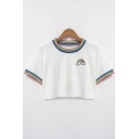 Chic Rainbow Applique Striped Trim Round Neck Short Sleeves Cropped Tee
