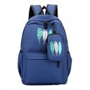 Chic Leaf Pattern Zippered Backpack School Bag