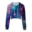 Popular Galaxy Printed Leisure Long Sleeve Crop Hoodie