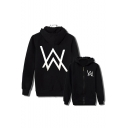 Cool W Letter Print Long Sleeves Zippered Hoodie with Pockets
