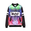 Color Block Letter Printed Stand Up Collar Long Sleeve Buttons Down Leisure Jacket