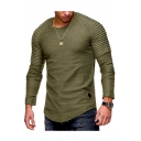 Basic Natural Plain Round Neck Long Sleeves Spring Tee
