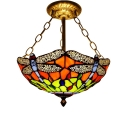 Colorful Dragonfly 2/3- Light Inverted Hanging Lamp with Tiffany Classic Art Glass Shade, 12/16-Inch Wide, Aged Brass Finish