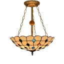 Tiffany Inverted Pendant Light Fixture with Colorful Jewels Decorations, 15.75
