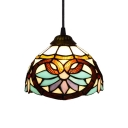 Victorian Style Tiffany Colorful Glass Pendant Light with Dome Shaped Shade, 8