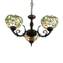 3/6-Light Tiffany Colorful Glass Floral Theme Chandelier with Bowl Shades