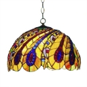 Vintage Colorful Tiffany 2-Light Pendant Light with Peacock Tail Pattern Shade, 16