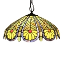 Tiffany-Style Ceiling Pendant Fixture 2 Light and Glass Shade in Green & Yellow