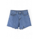 Fancy Chic Plain Ripped Off Detail High Waist Zipper Fly Denim Shorts