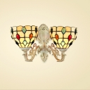 Tiffany-Style Upward Wall Sconce with Grid Pattern Embellished in Multicolor, 2-Light