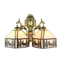 Countryside Style Tiffany Stained Glass 2-Light Wall Sconce in Antique Brass Finish