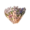 Purple Flower and Leaves Tiffany Wall Sconce with Handmade Stained Glass