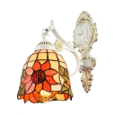 Single Light Tiffany Style Floral Bell Wall Sconce with Colorful Glass Shade 6