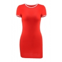Contrast Trim Round Neck Short Sleeve Mini Bodycon Dress