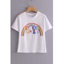 Unicorn Rainbow Letter Printed Round Neck Short Sleeve Tee