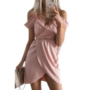 Chic Plain Lace Panel Spaghetti Straps Wrap Front Mini A-line Dress