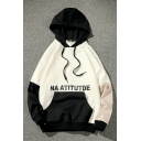 NA ATITUTDE Letter Print Color Block Pocket Loose Hoodie