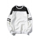 Fashion Color Block Striped Sleeve Round Neck Pullover Sweatshirt