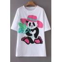Cute Panda Hat Pattern Round Neck Short Sleeves Summer T-shirt