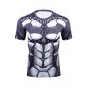 Fashion Digital Printed Round Neck Short Sleeve Slim Sports Tee