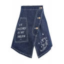 Top Design Letter Unicorn Embroidered Button Detail Notched Front Mini Denim Skirt