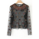 Floral Embroidered Sequined Embellished Sheer Mesh Round Neck Long Sleeve Tee